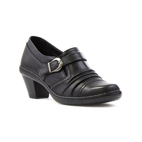 Cushion-Walk-Womens-Black-Ruched-Heeled-Shoe-0